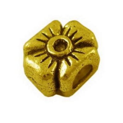 Мънисто АРТ метал детелинка 12x10x8 мм дупка 4.5 мм цвят старо злато