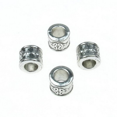 Мънисто АРТ цилиндър 9x8 мм дупка 5.5 мм метално цвят старо сребро