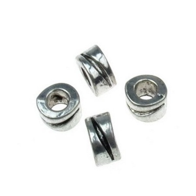 Мънисто АРТ цилиндър 10x6 мм дупка 5 мм метално цвят старо сребро