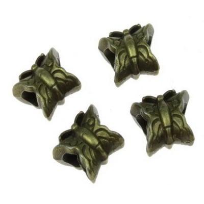 Мънисто АРТ пеперуда 13x12x7 мм дупка 4.5 мм метално цвят антик бронз