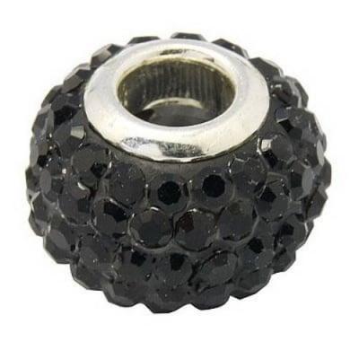 Мънисто АРТ с кристали черни 15x10 мм дупка 5 мм