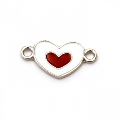 Свързващ елемент метал сърце 22x11x2 мм дупка 1.5 мм цвят сребро -2 броя