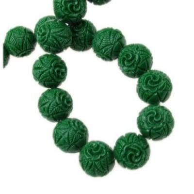 Наниз мъниста полускъпоценен камък КОРАЛ зелен гравиран синтетичен топче 12 мм ~30 броя