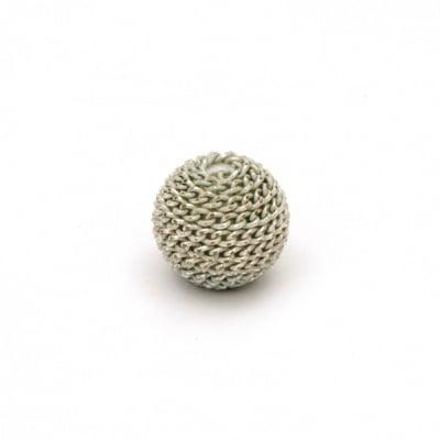 Мънисто метална обшивка топче 10 мм дупка 2 мм цвят сребро със златна нишка