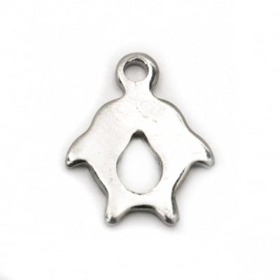 Висулка стомана делфини 12.5x10x1 мм дупка 1 мм цвят сребро -10 броя