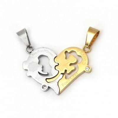 Висулка стомана неръждаема 304 двойно чупещо сърце с надпис 28x17x2.5 мм и 26x18.5x2.5 мм дупка 8x5 мм цвят злато и сребро