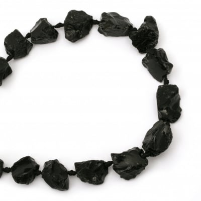 Наниз мъниста полускъпоценен камък АХАТ ЧЕРЕН 19~32x16~28x6~18 мм ~15 броя