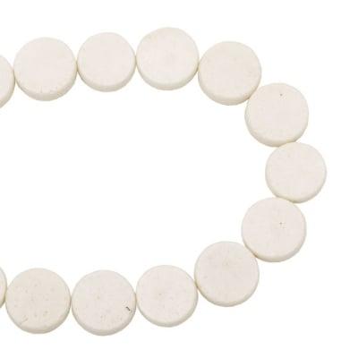 Наниз мъниста полускъпоценен камък КОРАЛ бял паричка 20x8 мм ~20 броя