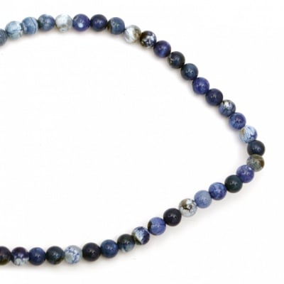 Наниз мъниста полускъпоценен камък АХАТ напукан син топче 8 мм ~48 броя