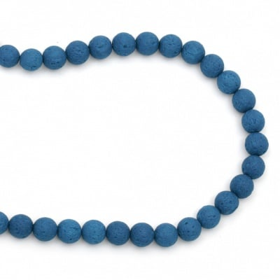 Наниз мъниста полускъпоценен камък ВУЛКАНИЧЕН - ЛАВА небесно син топче 10 мм ~39 броя