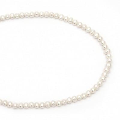 Наниз мъниста естествена перла 7x5.5 мм дупка 0.5 мм клас ААА цвят крем ~68 броя
