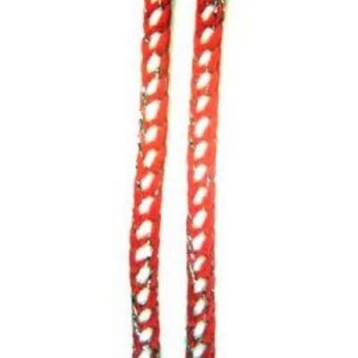 Шнур плосък 4 мм В 100 Пан ламе квадрати в червено -50 метра