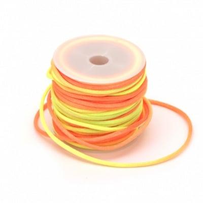 Шнур полиамид лъскав 2 мм жълто оранжев електрик -10 метра