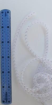 Шнур мрежест тръбичка 8 мм бял с ламе-5 метра