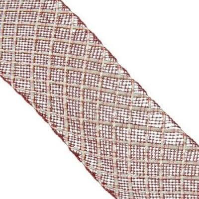 Шнур мрежест лента 40 мм червен -5 метра