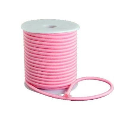 Силиконова тръбичка 5 мм дупка 2 мм облечена с конец полиестер розов -1 метър