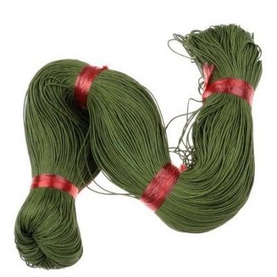 Шнур памук колосан 0.7 мм зелен маслинен ~78 метра