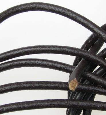 Шнур естествена кожа 3мм. кафяв-1 метър