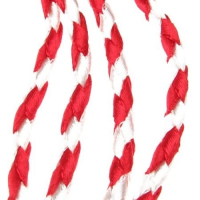 Шнур 5 мм полиамид бял и червен -4 метър