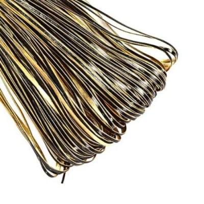 Лента изкуствена кожа 3x1 мм цвят черен и злато -1 метър