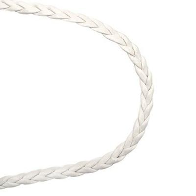 Шнур изкуствена кожа 5x2 мм плосък плитка цвят бял -1 метър
