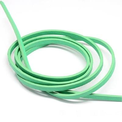 Лента изкуствена кожа 5x2 мм цвят светло зелено- 1.20 метър