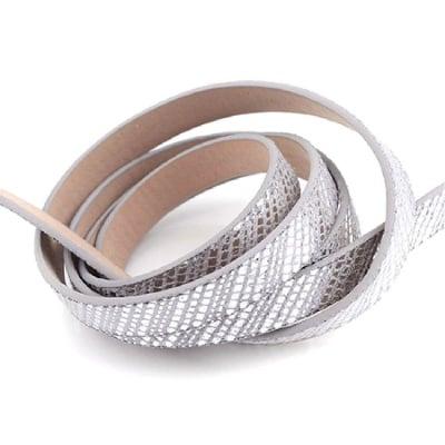Лента изкуствена кожа 10x2 мм сива със сребро -1.20 метра