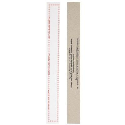 Подложки картон 3/23 см бели с надпис и описание - 100 броя