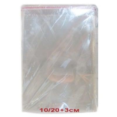 Целофаново пликче 15/20+3 см. капак залепващ 30мк. -200 броя