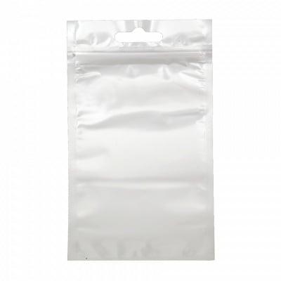 Целофаново пликче 13/21 см вътрешен размер 12/17.5 см щендерно с цип (канал) и бял гръб -10 броя