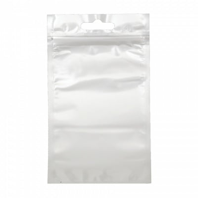 Целофаново пликче 8/14 см вътрешен размер 7/11 см щендерно с цип (канал) и бял гръб -10 броя
