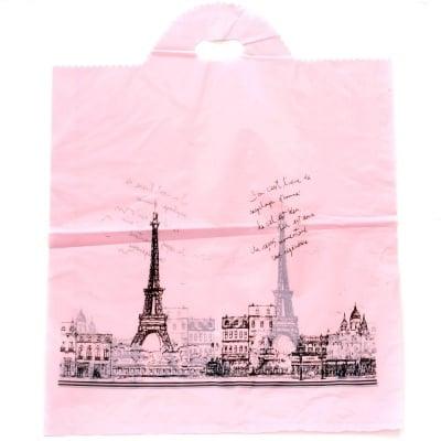 Торбичка от PE материал 53x45 см. розова Париж