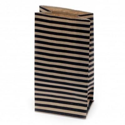 Хартиен плик за подарък с дъно 9x5.5x18 см райе -12 броя