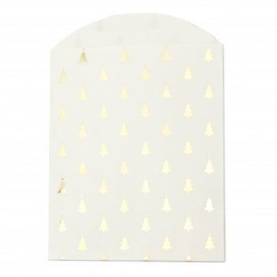 Хартиен плик за подарък луксозен 12x16 см с прихлупване 3 см елхи -10 броя