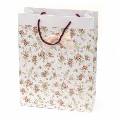 Торбичка подаръчна от картон 266x350x114 мм цветя