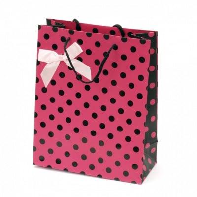 Торбичка подаръчна от картон 196x245x88 мм розова с черни точки