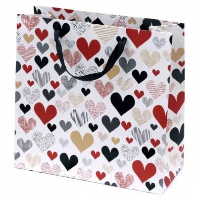 Торбичка подаръчна от картон 298x298x128 мм сърца