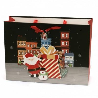 Торбичка подаръчна от картон 30x41x11 см Коледа АСОРТЕ 3D