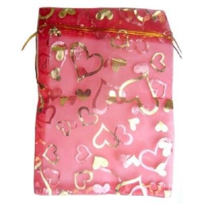 Торбичка за бижута 130х180 мм червена със злато