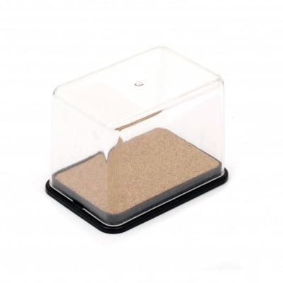 Кутия пластмасова 9.9x6.9x7 см отделен капак с вътрешност корк