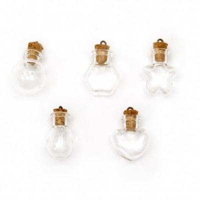 Бурканче стъкло 32.5~34.5x15~22x11~20 мм тапа корк с халка различни форми