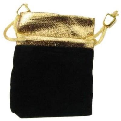 Торбичка за бижута 90x 70 мм кадифе черно със злато