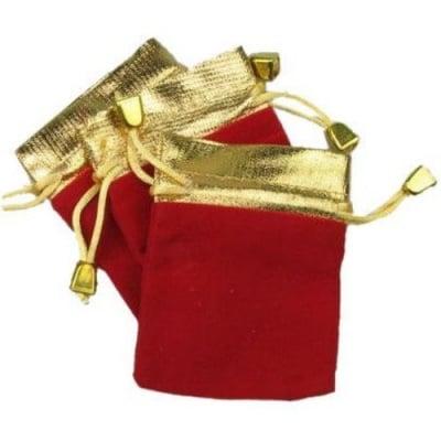 Торбичка за бижута 90x 70 мм кадифе червена със злато