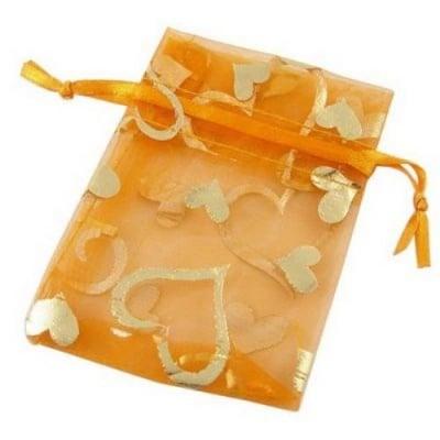 Торбичка за бижута 90x70 мм оранжева със сребро