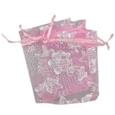 Торбичка за бижута 90x70 мм розова със сребро