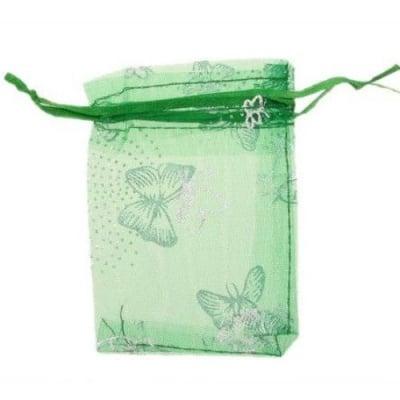 Торбичка за бижута 90x70 мм зелена със сребро