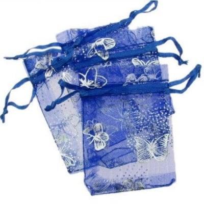 Торбичка за бижута 90x70 мм синя със сребро