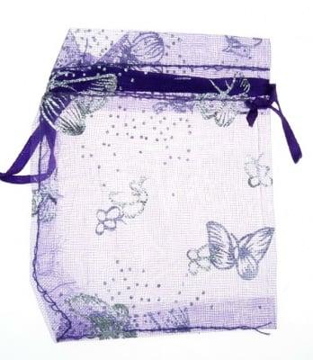 Торбичка за бижута 90x70 мм лилава със сребро