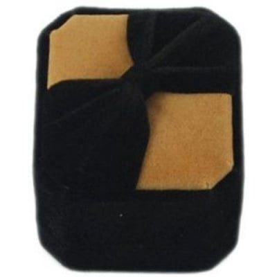 Кутийка за бижута 5х4.5 см кадифена черно/бежаво