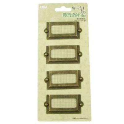 Комплект метални табелки 5.1x2.5 см винтидж - 4 броя